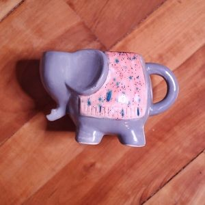 Hand Painted Unique Grey & Pink Elephant Mug